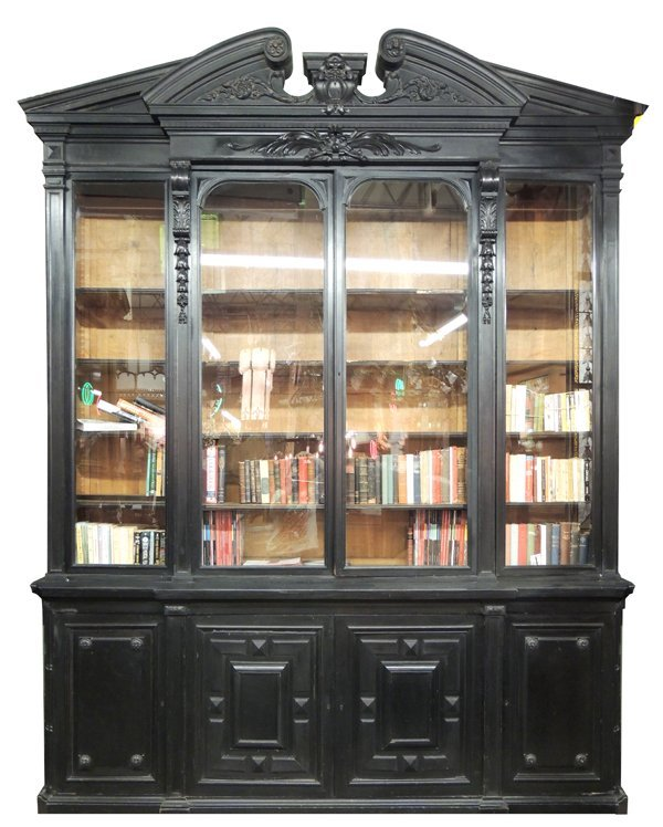 52: Monumental Ebonized Napoleon III Bookcase by Grohé