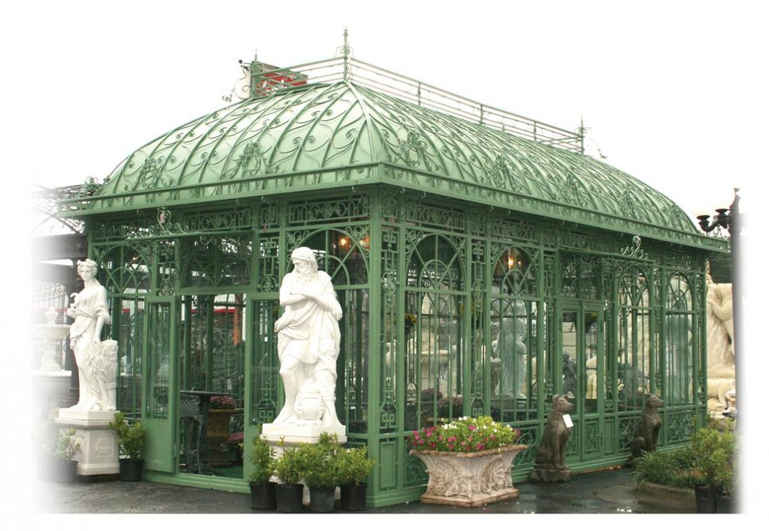 257: Green Solarium in Wrought Iron and Tempered Glass