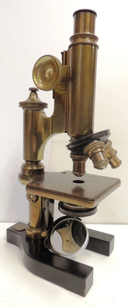 10: Bausch & Lomb brass microscope with box