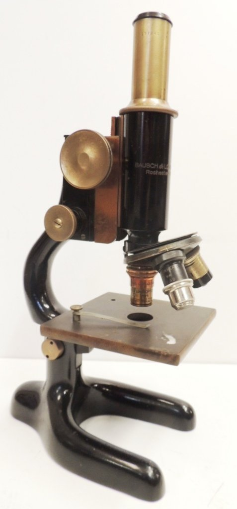 11: black Bausch & Lomb microscope circa 1925