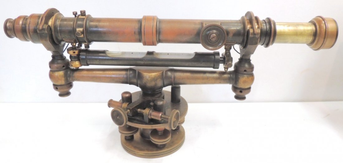 13: W & L.E. Gurley brass transit with case