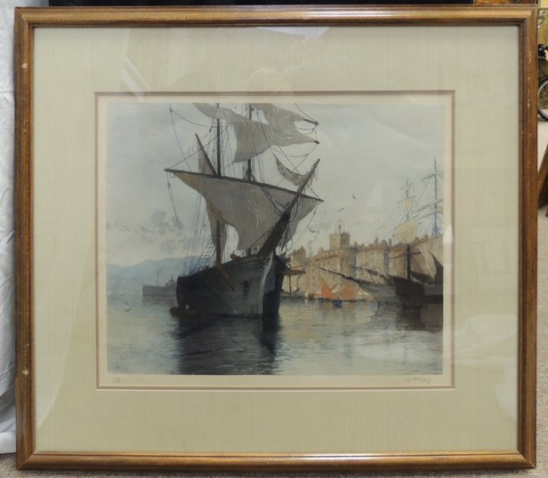 Ships in a harbor etching, signed