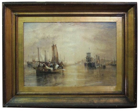 Watercolor depicting boats in harbor, signed