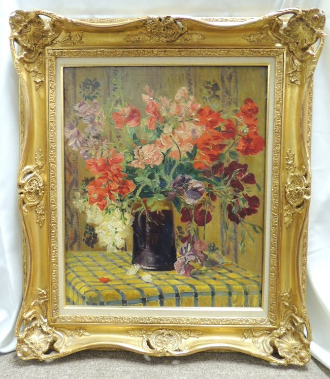 Floral still life oil on canvas by signed P. Seguin-Ber