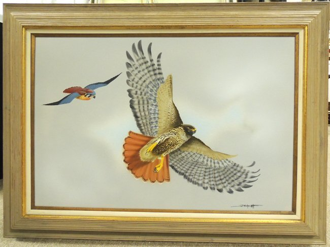 D. Nicholson Miller painting depicting a red tailed haw