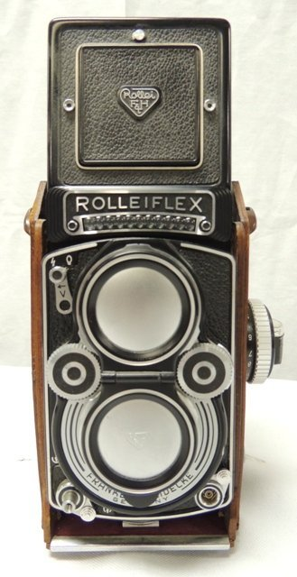 Rolleiflex camera in leather case