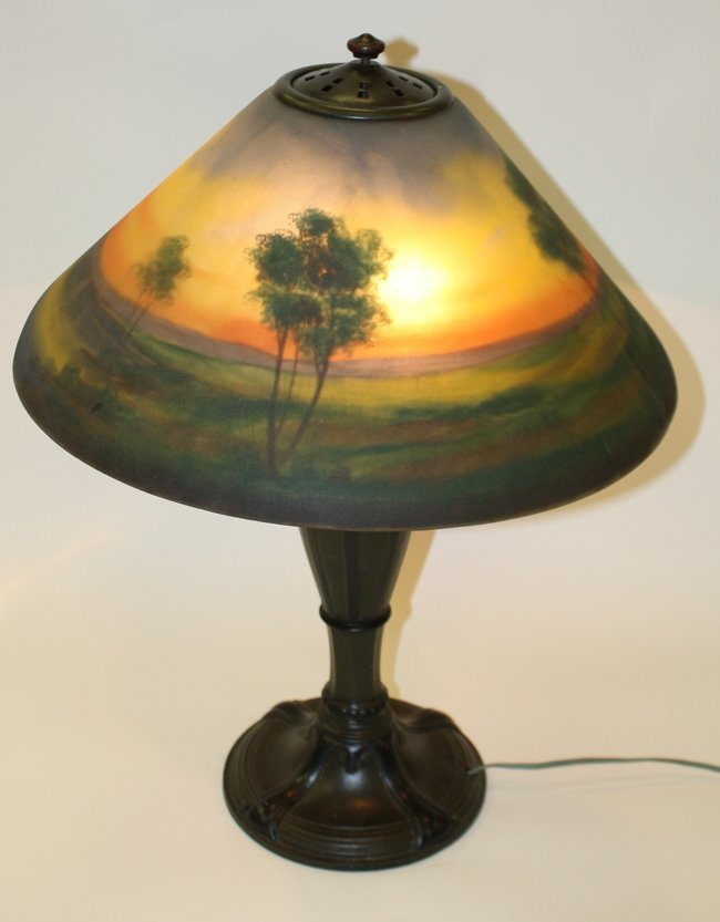 "Reverse painted desk top lamp signed ""1376-R-Jefferson"""