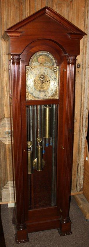 Tiffany 9 tube grandfather clock in mahogany with