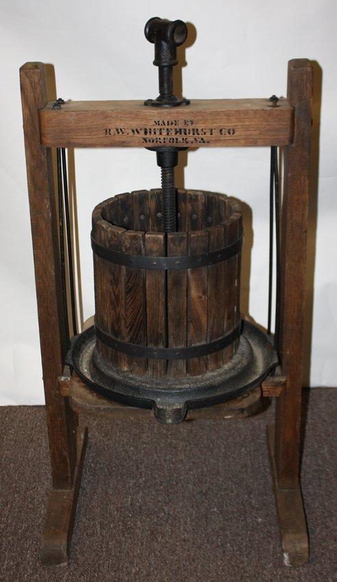 Wine press made by R.W. Whitehurst Co, Norfolk Va.