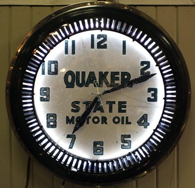 Quaker State motor oil vintage round neon clock
