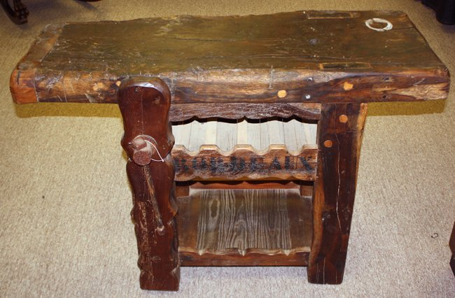 Rustic wine corking table