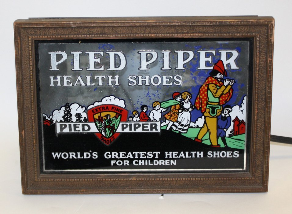 """""""Pied Piper"""" health shoes reverse painted on glass"""