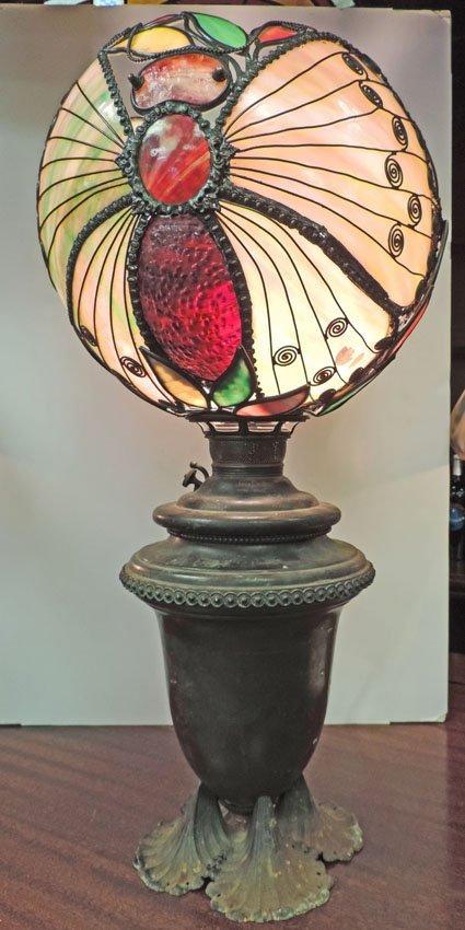 Period bronze and iron Juno lamp