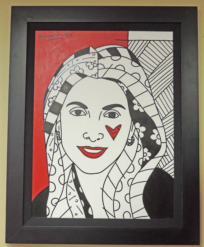 """""""Amarillis,"""" painting signed Romero Britto"""