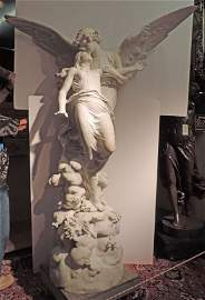 """Signed Carrara marble sculpture of """"Cupid & Psyche"""""""