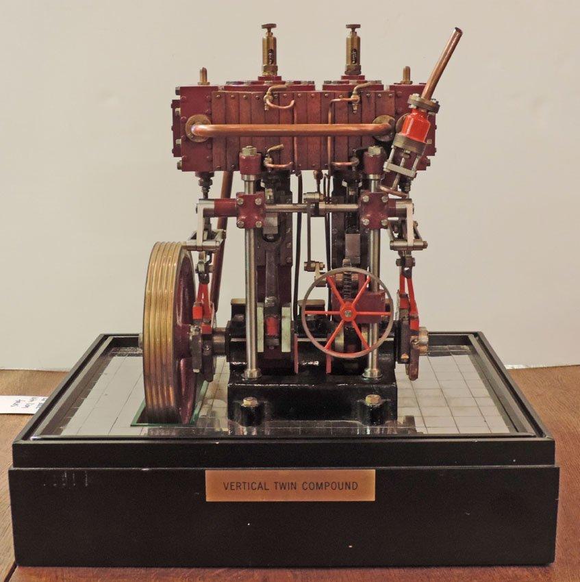 Vertical twin compound steam engine,