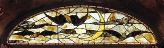 Stained and Leaded Glass Transom Window with Bats