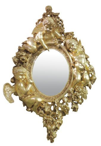 Carved Gilt Rococo Mirror with Putti