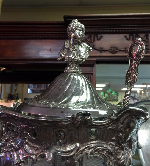 Silver over glass punch bowl - 3