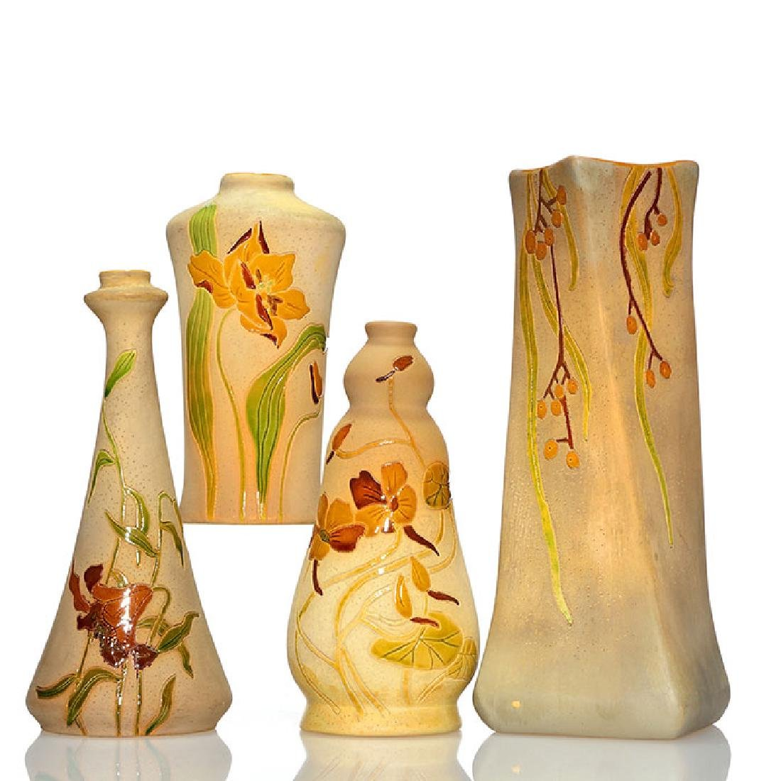 4 Roseville Woodland vases, tallest 8 inches,  1 seal