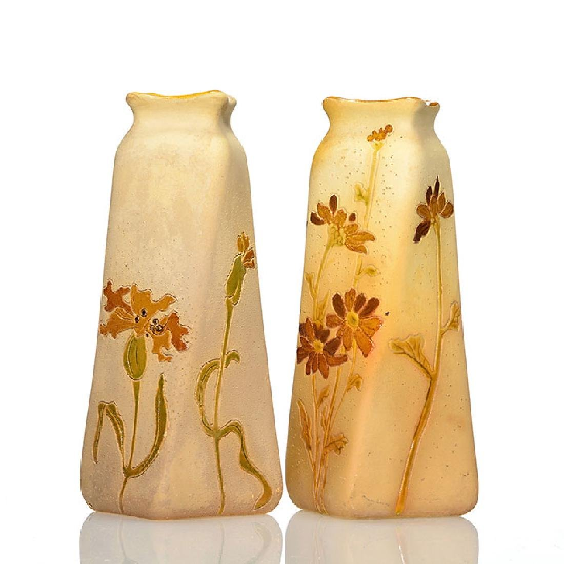 2 Roseville Rozane Woodland vases, 6 1/2 inches, seal