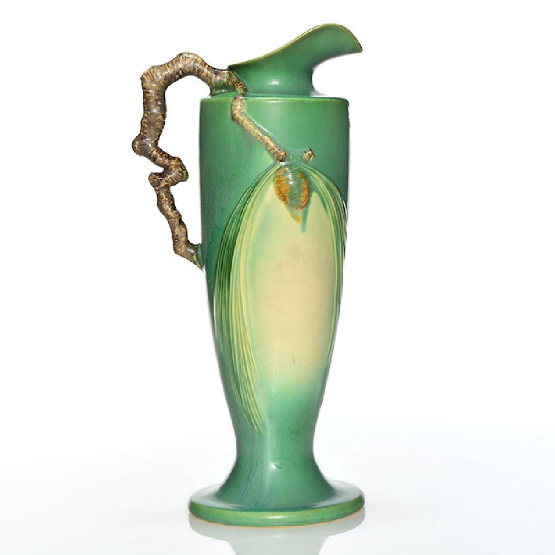 "Roseville Pine Cone Pitcher in Green, shape 851-15"", 15"