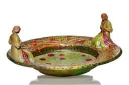 "Zsolnay Center bowl w/Art Nouveau women, Eosin, 6"" x 13"