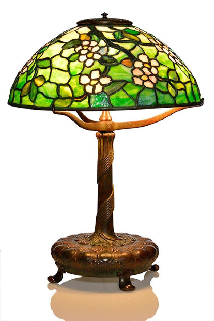 Tiffany Apple Blossom leaded lamp, 23 inches, both