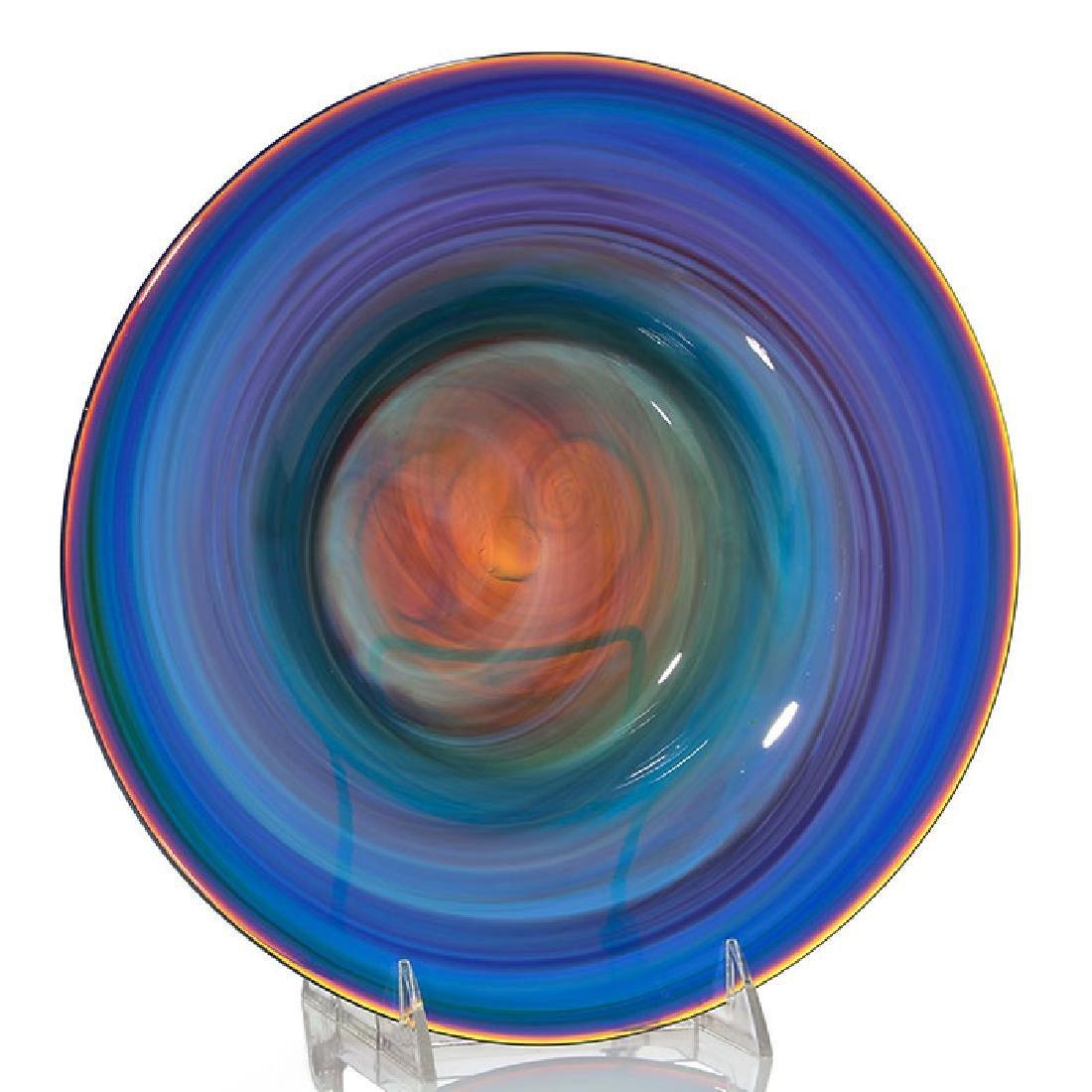 Early Mark Peiser center bowl, tans & blue, 10 3/4