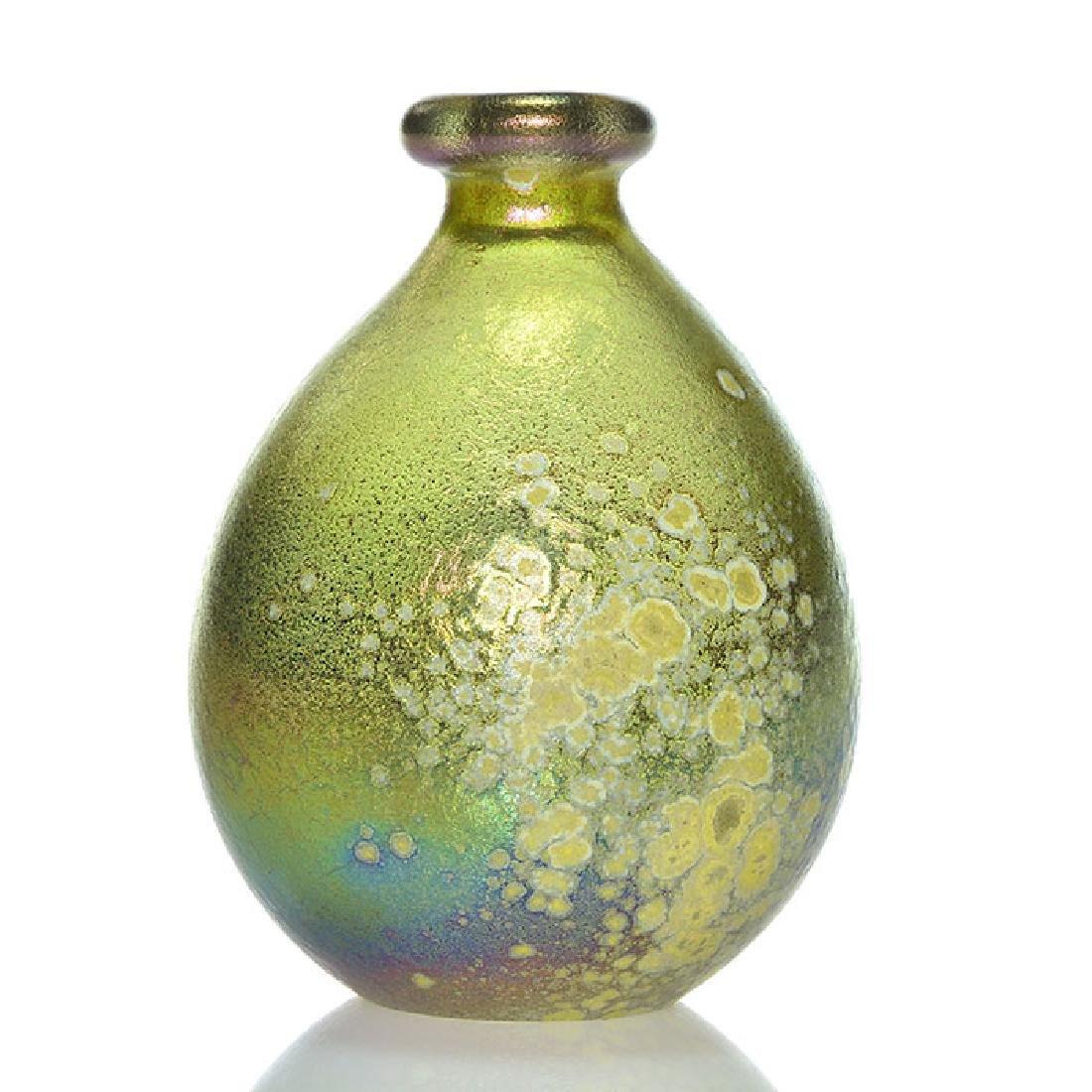 Very early mini Mark Peiser salt glaze golden vase, 3