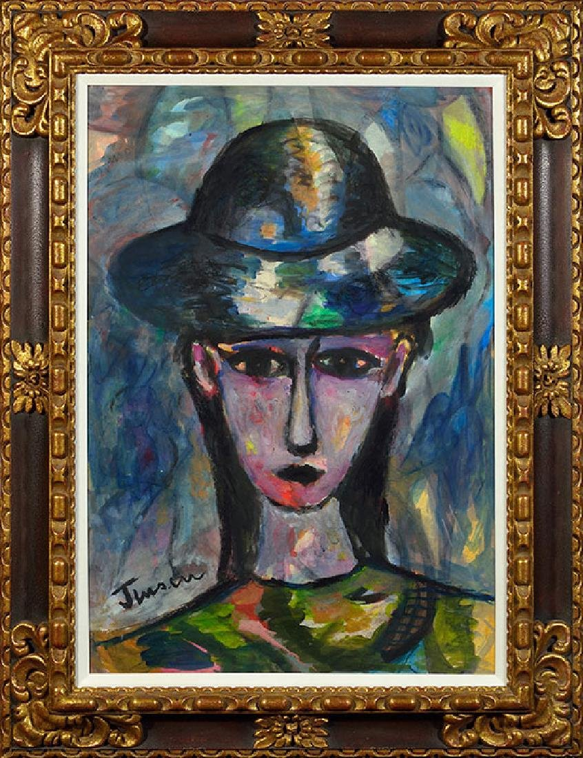 Jens Jensen Oil on Paper, Woman with Hat, 37 x 25
