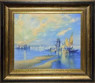 Rookwood Vellum plaque,Venice,Diers,1929, 14 1/4 x 16