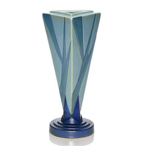 Roseville Futura Big Blue Triangle Vase Shape 388 9