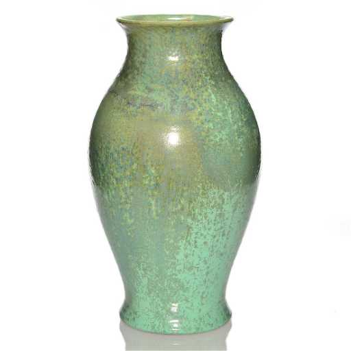 Large Fulper Vase Green Crystalline 16 34 Marked
