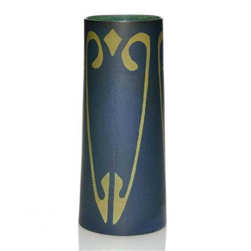 Early Zark Arts Crafts Vase Cut Back Panels Signed