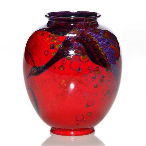 Royal Doulton Sung Flambe Vase Peacock 4 14 Marks