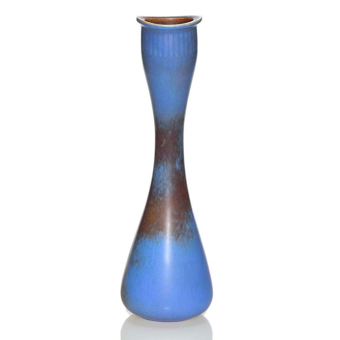 """Gunnar Nylund vase for Rorstrand, blue, rose,12 1/4"""""""