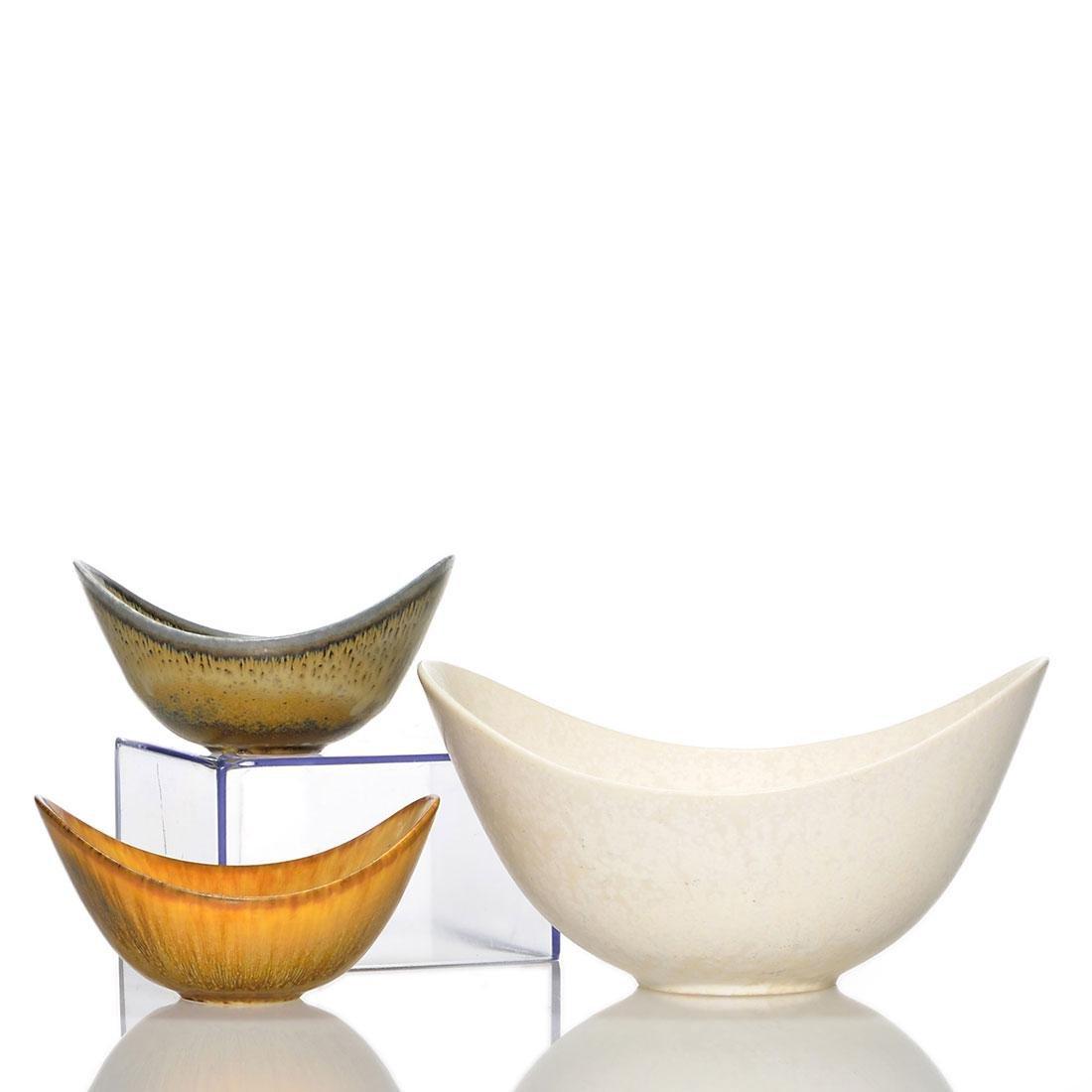 """3 Gunnar Nylund """"potato chip"""" bowls, crystalline, 6 1/2"""