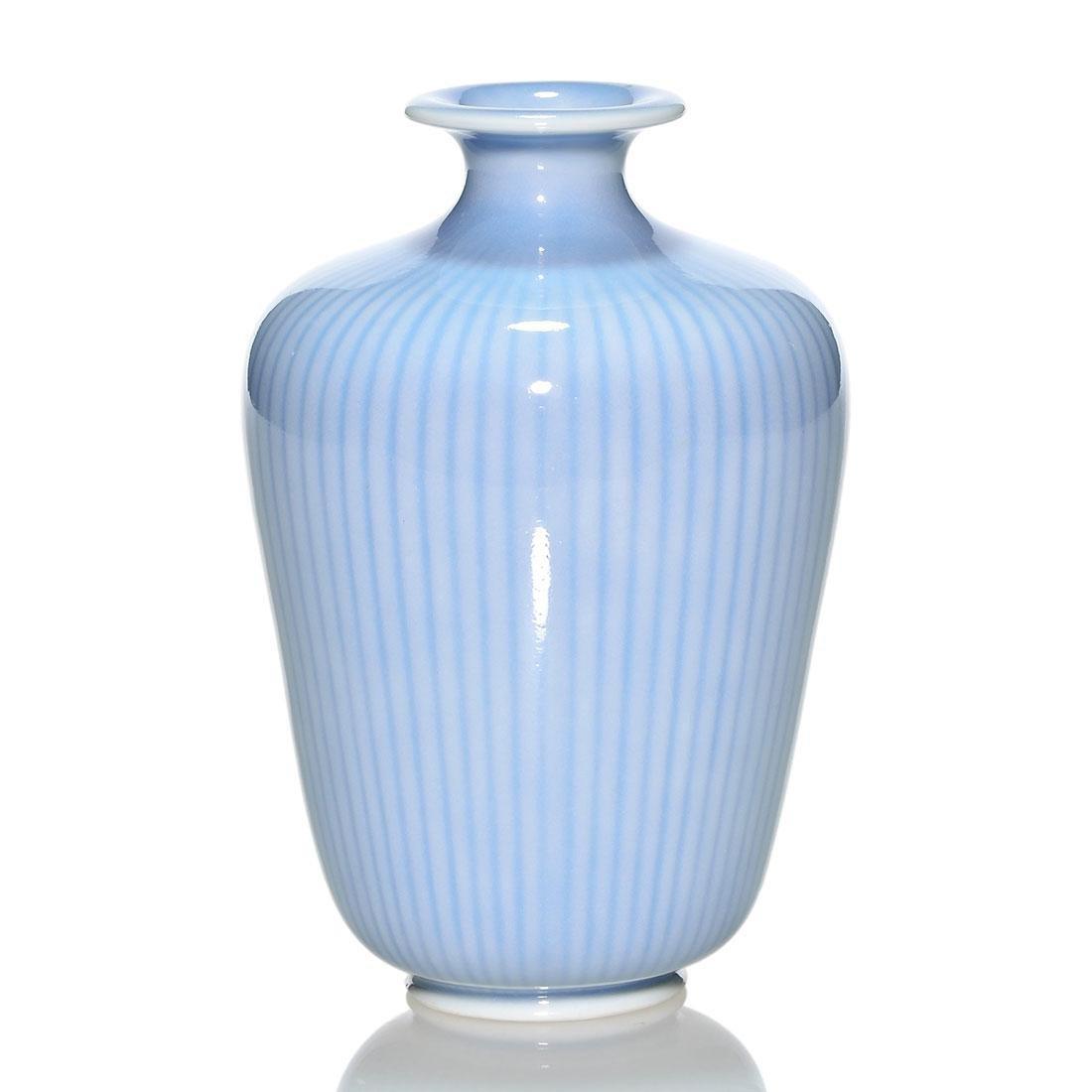 """Gunnar Nylund striated porcelain bowl, blue, 5 3/4"""""""