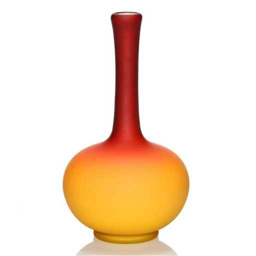 Wheeling Peachblow Stick Vase Acid Finish 8