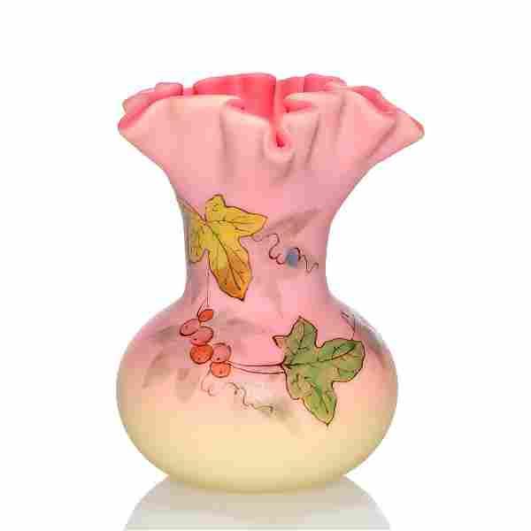 "Thomas Webb & Sons acid Burmese vase, vine, 3 1/2"""