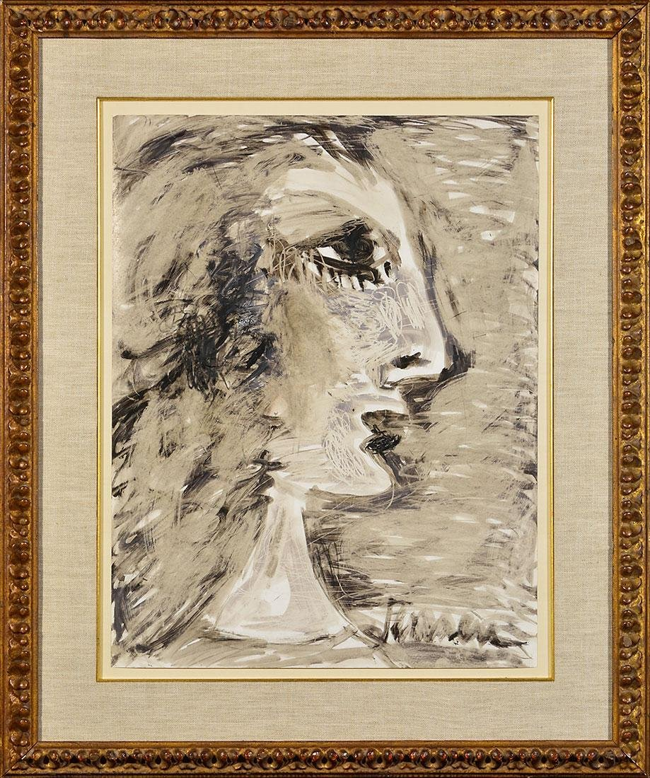 Jens Jensen oil on paper portrait, profile of woman,