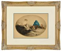 """Louis Icart colored etching """"Woman with Dogs and"""