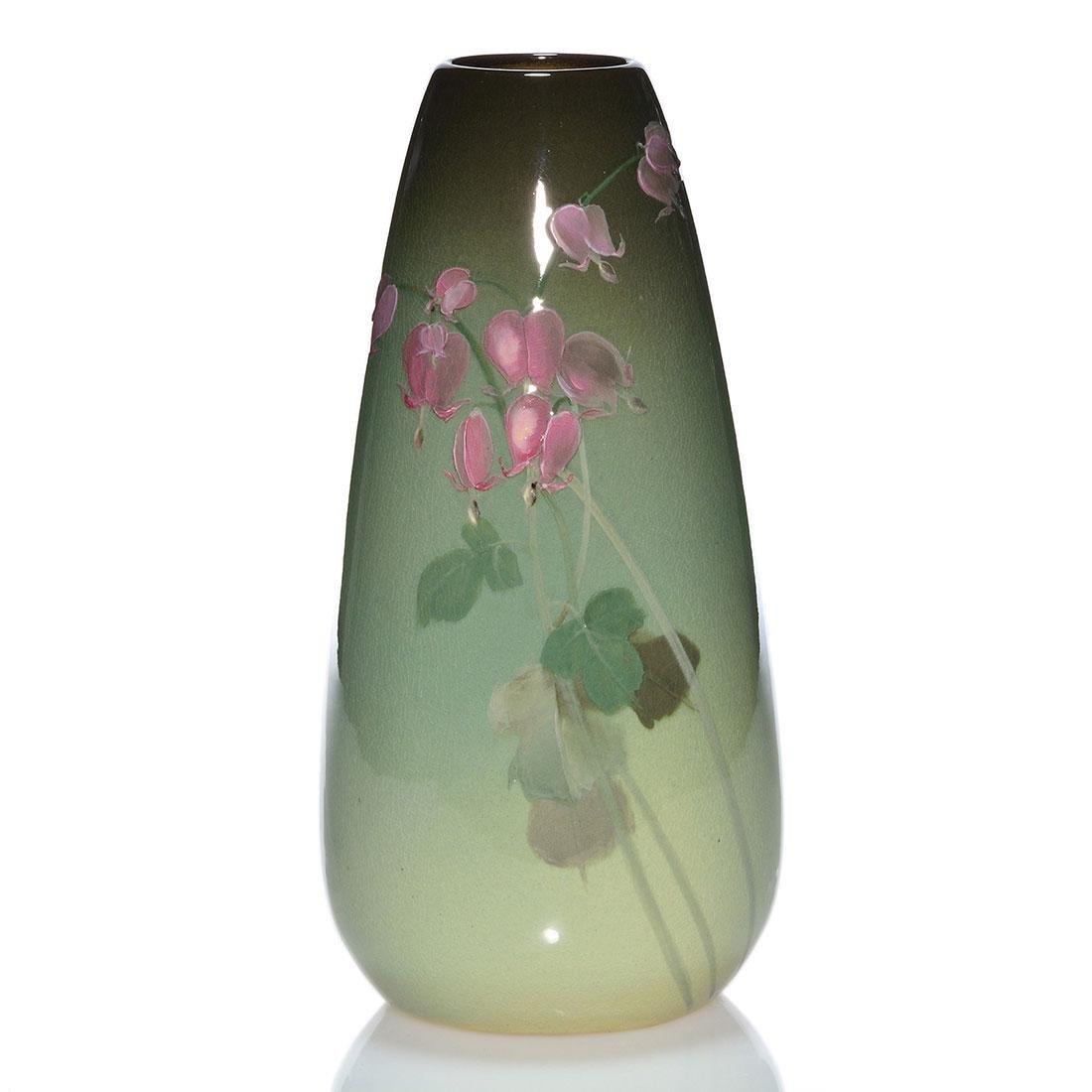 "Weller Eocean vase, Bleeding Hearts, 11 1/4"", artist"