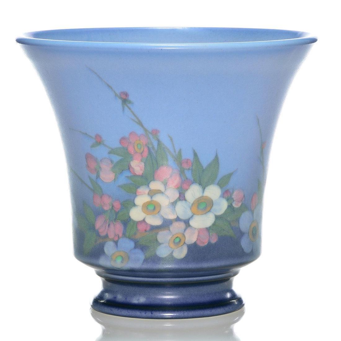 "Rookwood Vellum vase, floral, Asbury, 1928, 6013, 6"""