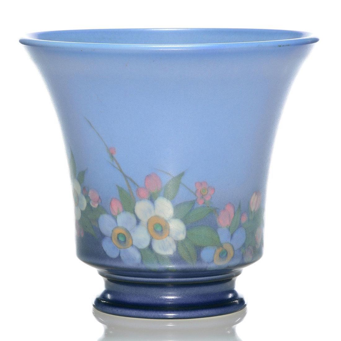 "Rookwood Vellum vase, floral, Asbury, 1928, 6013, 6"" - 2"