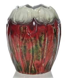 "M. Louise McLaughlin Losanti vase, gray tulips,5 1/2"""