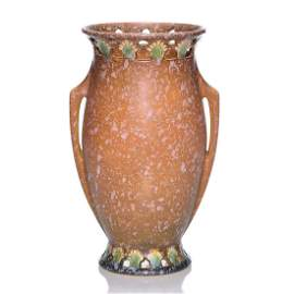 """Roseville Ferella vase, shape 511-10, brown, 10 1/4"""""""