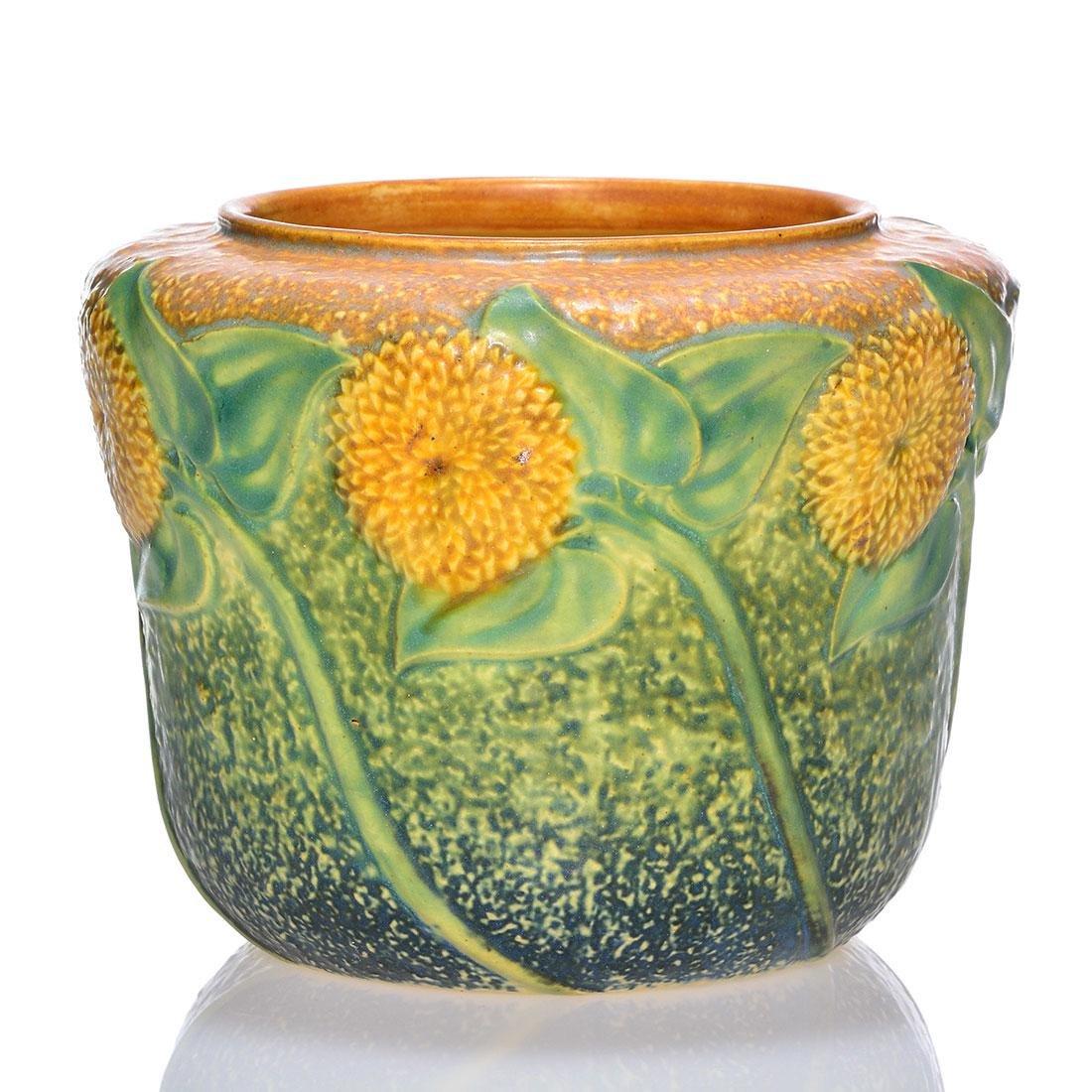 Roseville Sunflower vase, shape 486-5, 5 inches