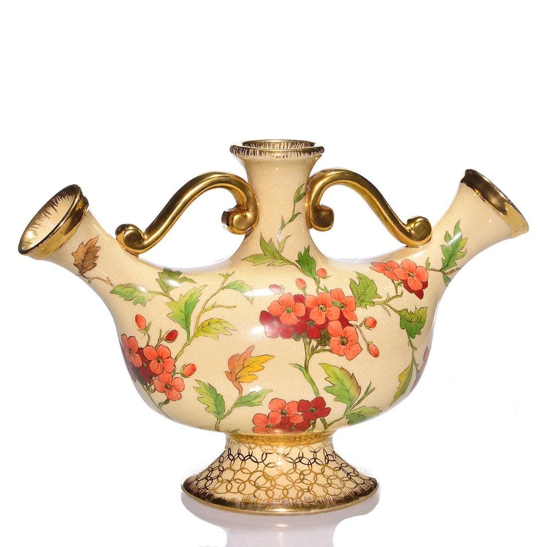Cincinnati Art Pottery triple spout jug, red flowers, 9